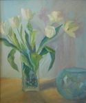 White tulips, glass bowl